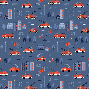 To the rescue - firetrucks - Navy SMALL