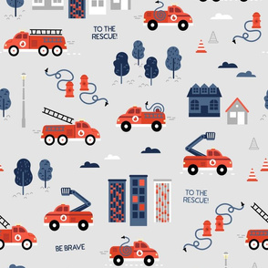To the rescue - firetrucks - Grey BIG