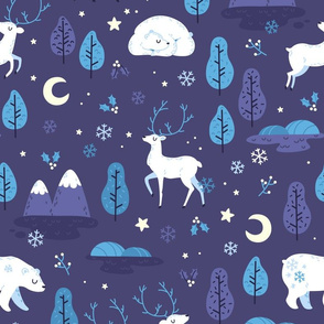 Winter night - bear and reindeer - BIG