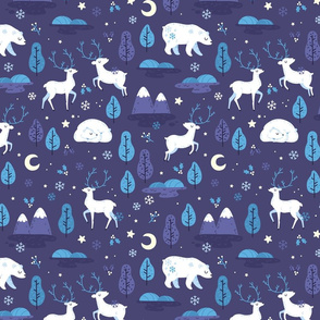 Winter night - bear and reindeer - SMALL