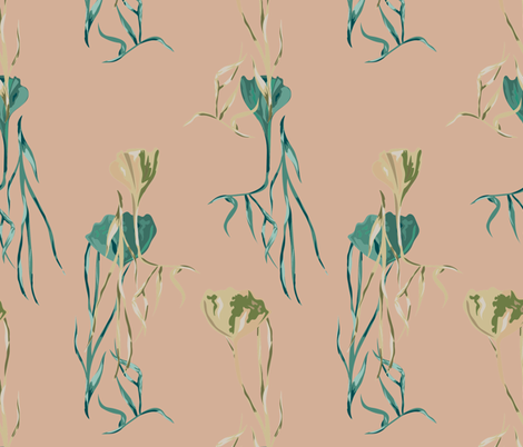 FAN LEAF FLORAL fabric by studio_lcy on Spoonflower - custom fabric