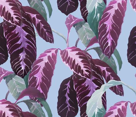 TROPICAL LEAVES PURPLE fabric by studio_lcy on Spoonflower - custom fabric