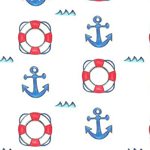Anchors, sea and buoys on white background - Ancres, mer et bouees sur fond blanc
