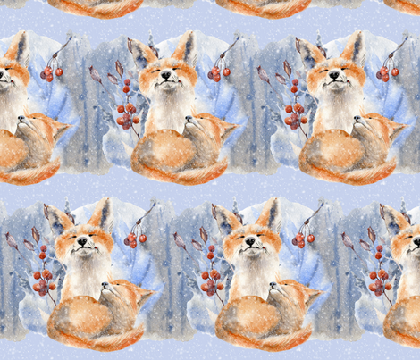 Winter Red Foxes(Large) fabric by floramoon on Spoonflower - custom fabric