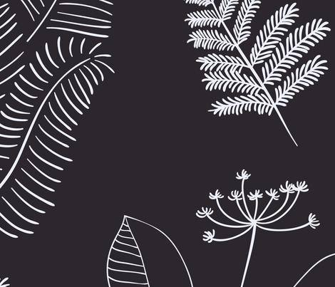 Black & White Botanical(Large) fabric by floramoon on Spoonflower - custom fabric