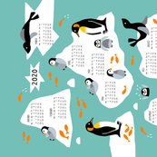 Penguin north pole tea towel Calendar 2020