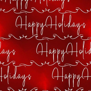 Happy Holidays Script on Ombre Red
