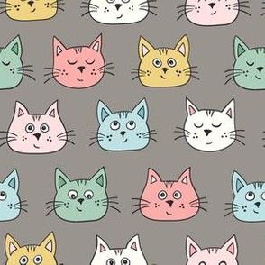 cute kittens - multicolour on grey