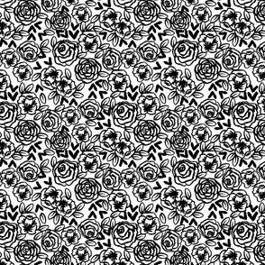 MINI - roses // black and white florals flower design for illustration pattern print