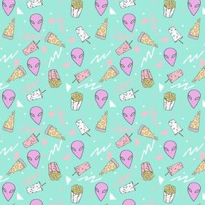 MINI - drive thru // pastel drive thru space alien 80s 90s design pizza aliens food fabric