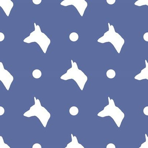 Carolina Dog Silhouette and Polka Dots in Navy Blue