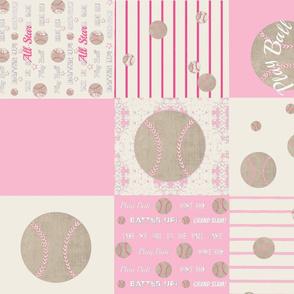 pink vintage  baseball quilt LG21 - wholecloth