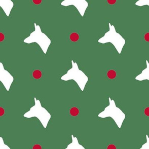 Carolina Dog Silhouette and Polka Dots in Christmas Green and Red