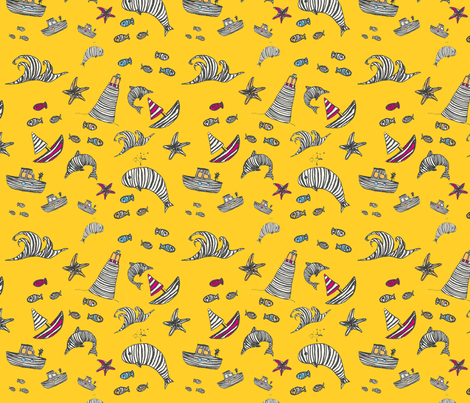 Striped Sea World Yellow fabric by fabre on Spoonflower - custom fabric