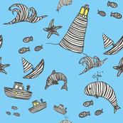 Striped Sea World lights on