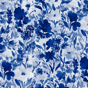 Wild Garden Indigo on Blue
