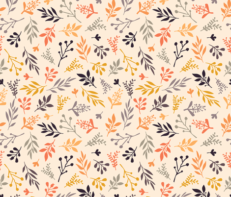 Fall leaves on beige fabric by sandra_hutter_designs on Spoonflower - custom fabric