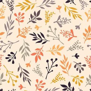 Fall leaves on beige