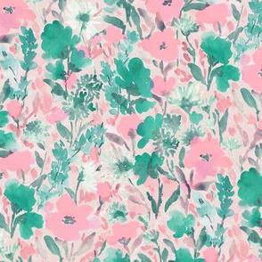 Wild Garden Pink Green on Pink