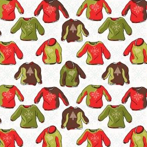 Nordic Christmas Jumper Seamless Vector Pattern. Hand Drawn Embroidered Ugly Sweater