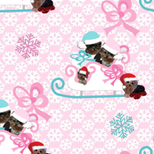 Yorkie Sleigh Pink & Snowflakes