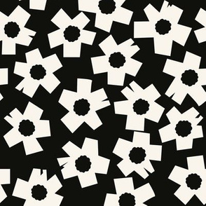 Square Flowers, black, cream