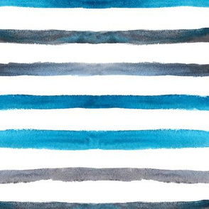 Turquoise and grey watercolor stripes