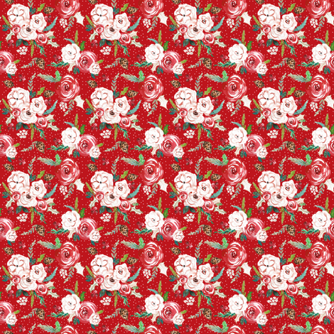 IBD Christmas Florals RED 2x2 fabric by indybloomdesign on Spoonflower - custom fabric