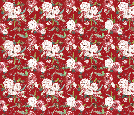 IBD Christmas Florals RED 6x6 fabric by indybloomdesign on Spoonflower - custom fabric