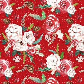 IBD Christmas Florals RED 6x6