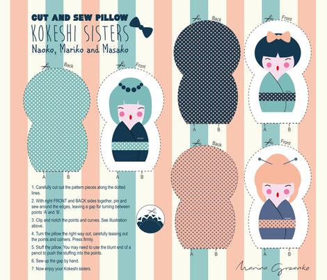 Cut and sew Kokeshi sisters fabric by marina_grzanka on Spoonflower - custom fabric