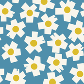 Square Flowers in teal blue, sunshine yellow