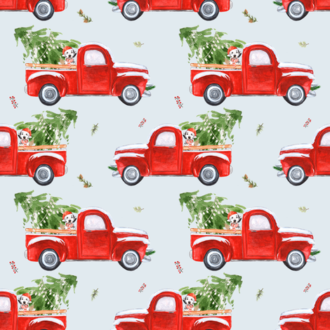 "4"" BEST FRIENDS CHRISTMAS TRUCK AND DOG LIGHT GREYISH BLUE fabric by shopcabin on Spoonflower - custom fabric"