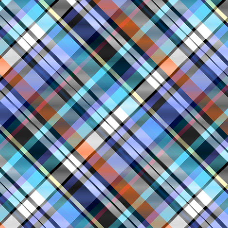 Turquoise and Royal Madras Plaid 45 degree large fabric by eclectic_house on Spoonflower - custom fabric