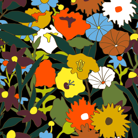 60's Swamp Floral in Midnight Black fabric by elliottdesignfactory on Spoonflower - custom fabric