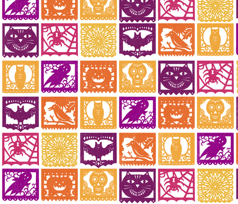 Halloween Papel Picados - Texture fabric by lellobird on Spoonflower - custom fabric