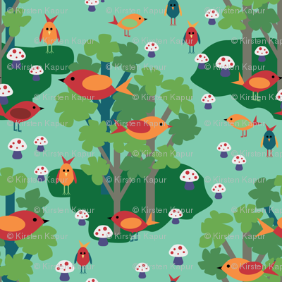Woodland Birds and Toadstools