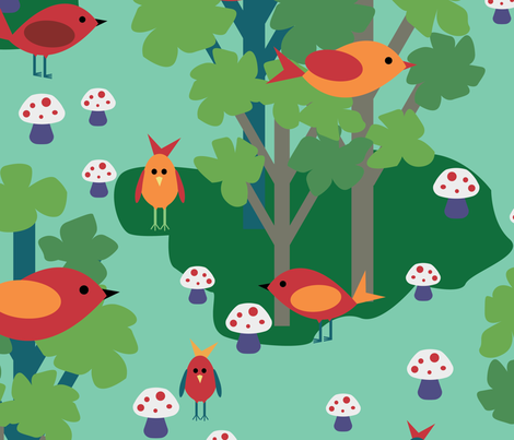 Woodland Birds and Toadstools fabric by ttl_kirsten on Spoonflower - custom fabric
