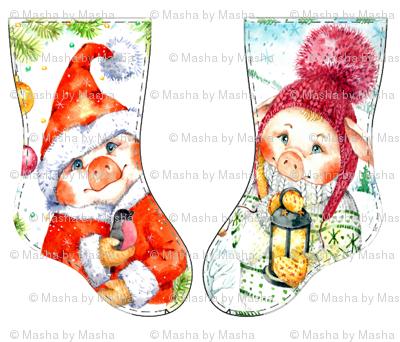 pigs Christmas Stockings , Inga Izmaylova Piglets fat quarter