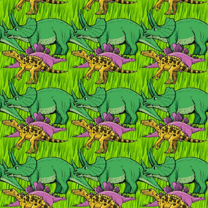 Dinosaurs Cartoon in Grass