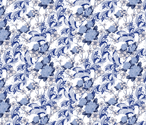 Chinoiserie Swans fabric by kalaii_creations on Spoonflower - custom fabric