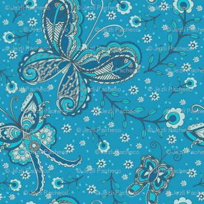 Blue Butterflies paisley
