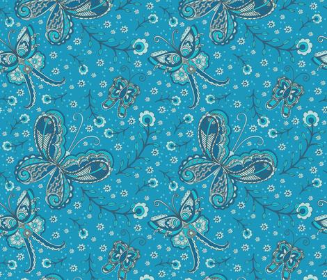 Blue Butterflies paisley fabric by jezlisquaredarts on Spoonflower - custom fabric