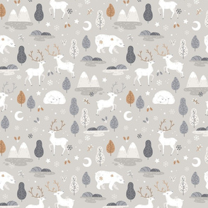 Winter night - grey and beige - SMALL