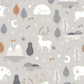 Winter night - grey and beige - BIG