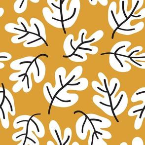 Acorn Doodle Leaves Black White Gold