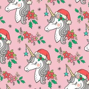 Christmas Unicorn on Light Pink 4 inch
