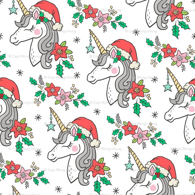 Christmas Unicorn.Christmas Unicorn On White 4 Inch Giftwrap Caja Design