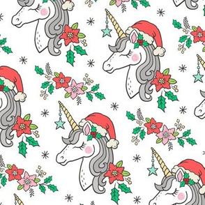Christmas Unicorn on White 4 inch