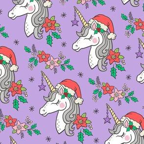Christmas Unicorn on Purple 4 inch